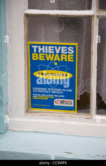 Thieves Beware Smartwater window sign crime prevention - Stock Image