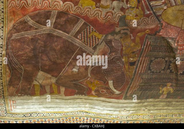 Roof murals, Dambulla Cave Temple, UNESCO World Heritage Site, Sri Lanka, Asia - Stock Image