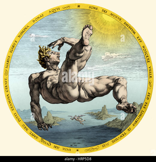 Fall of Icarus, Greek Mythology - Stock Image