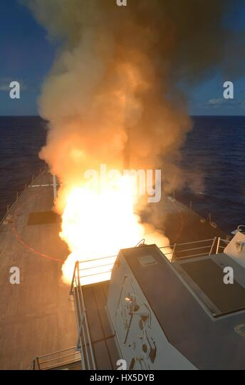 Guided-missile destroyer USS Michael Murphy (DDG 112) fires a RIM-66M SM-2 missile, Pacific Ocean, 2013. Image courtesy - Stock Image