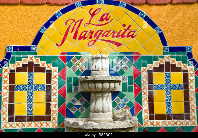 Historic Market Square San Antonio Texas Tx La Margarita Restaurant Oyster Bar sign outdoor art colorful tile - Stock Image