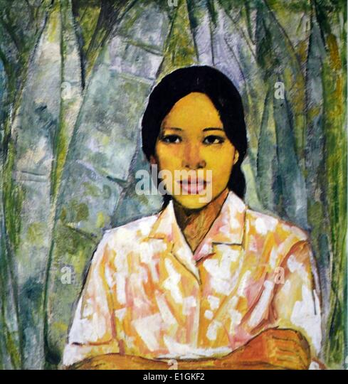Victorio C. Edades, Country Girl, ca. 1960.  Oil on canvas. - Stock Image