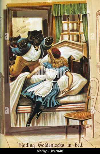 GOLDILOCKS AND THE THREE BEARS  From a Raphael Tuck book in 1900 - Stock-Bilder
