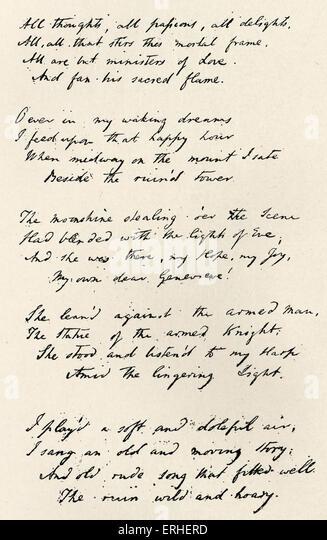 Samuel Taylor Coleridge's poem 'Love'  autograph manuscript of the opening stanzas. 21October 1772  - Stock-Bilder
