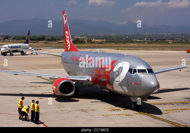 Jet2 Boeing 737-330 at Palma de Mallorca, Son Sant Joan Airport, Spain. - Stock Image