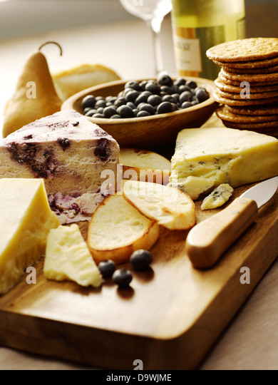 cheese and crackers - Stock Image