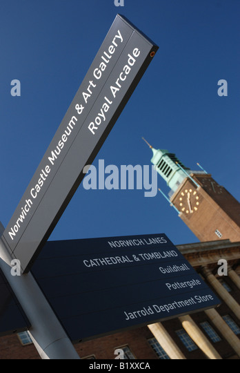 Tourist sign outside Norwich City Hall, Norfolk - Stock Image