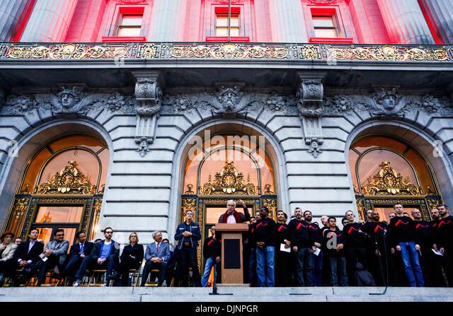 San Francisco, California, USA. 27th Nov, 2013. Chairman of the California Democratic Party JOHN BURTON speaks during - Stock Image