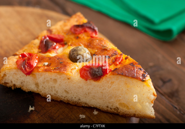 Focaccia with Tomato and Olives, Traditional Food from Apulia, Italy - Stock Image