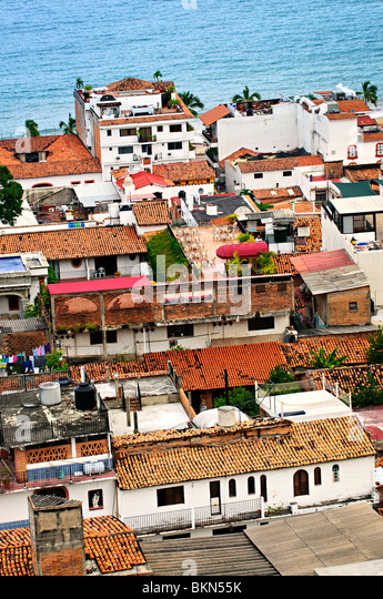 View from above at rooftops in old Puerto Vallarta, Mexico - Stock Image