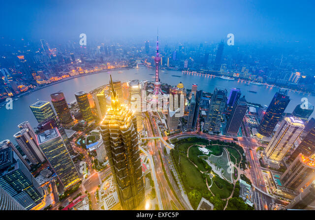 Shanghai, China downtown city skyline over Lujiazui District. - Stock Image