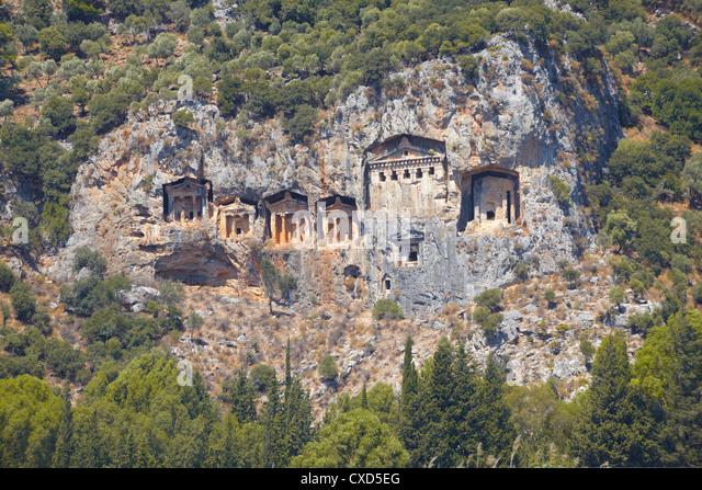 Lycian tombs of Dalyan, Dalyan, Anatolia, Turkey, Asia Minor, Eurasia - Stock Image