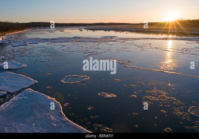 frozen river on Shiretoko Peninsula Hokkaido Japan winter - Stock Image