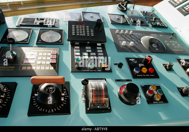 BVI Tortola Holland America Caribbean cruise from New York ms Noordam bridge controls - Stock Image