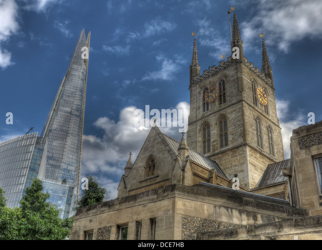 The new completed Shard and Southwark cathedral - Stock Image