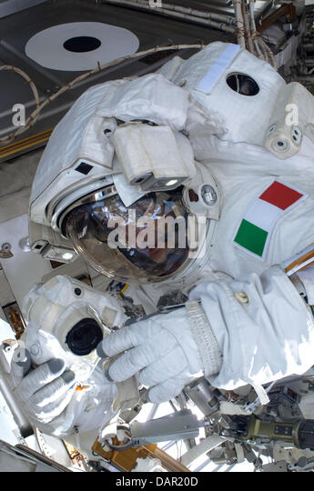 European Space Agency astronaut Luca Parmitano during a space walk outside the International Space Station July - Stock Image