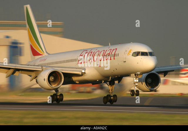Ethiopian Airlines Boeing 757 landing at dusk at London Heathrow UK England 2004 - Stock Image