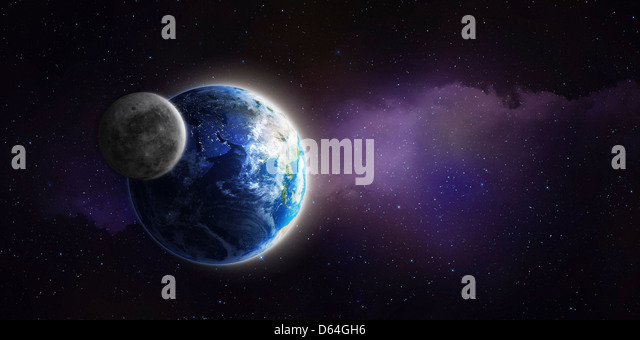 Earth and Moon, artwork - Stock-Bilder