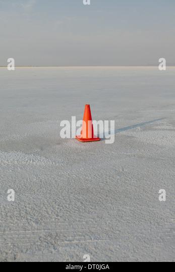 Bonneville Salt Flats Utah USA Traffic cone on salt flats during Speed Week - Stock Image