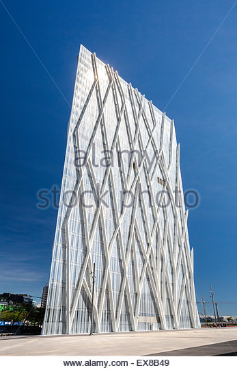 Spain, Catalonia, Barcelona City, Diagonal Mar District, View of Telefonica building. - Stock Image