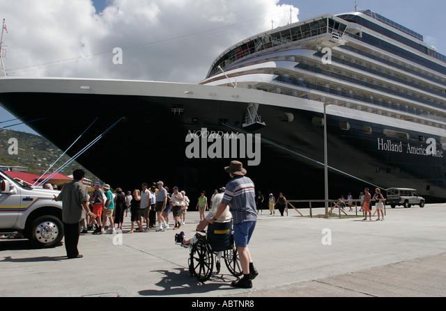 St. Thomas USVI Crown Bay Holland America Line ms Noordam shore excursion groups wheelchair - Stock Image