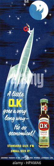 1957 British advertisement for OK Sauce. - Stock Image