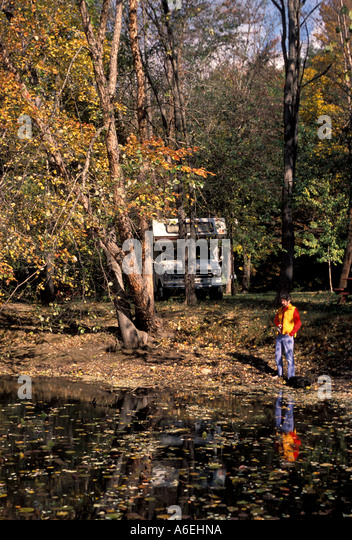 Fall Colors camping recreational vehicle - Stock Image