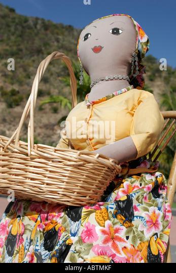 Sint Maarten Philipsburg Dutch Lulu doll cultural character basket Point Blanche Mountain - Stock Image