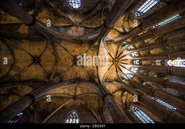 Eglesia de Santa Maria del Mar, El Born, Barcelona, Catalonia, Spain - Stock Image