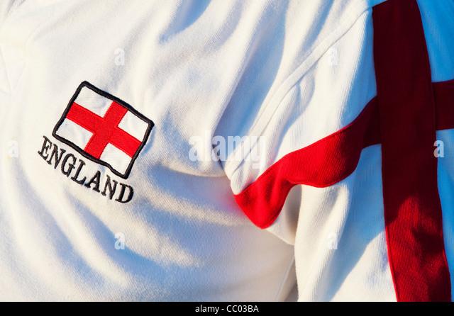 England flag logo on a shirt. Saint George cross - Stock Image