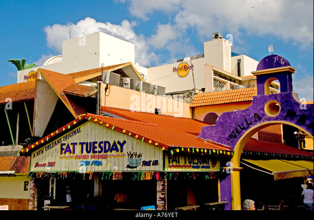Cozumel Mexico San Miguel bars and shopping area - Stock Image