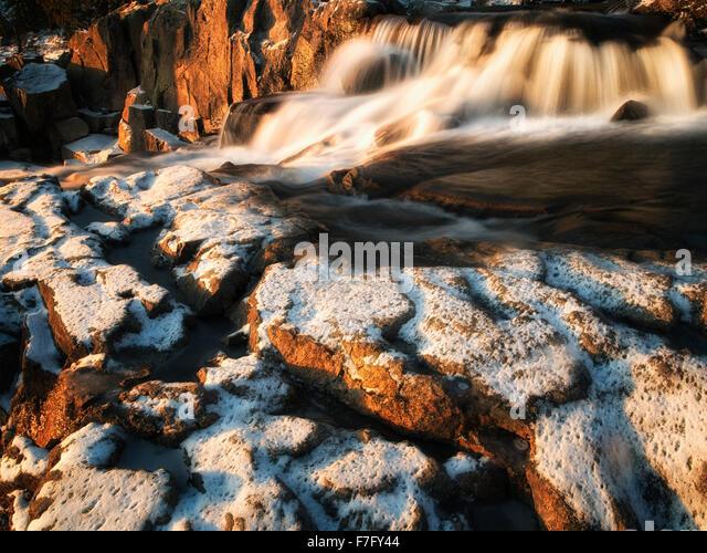 Eagle Creek Falls with snow. Lake Tahoe, California - Stock Image