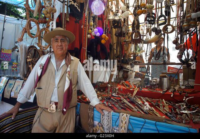 Gaucho at Antique market, Plaza Dorrego,  San Telmo,  Buenos Aires, Argentina - Stock Image