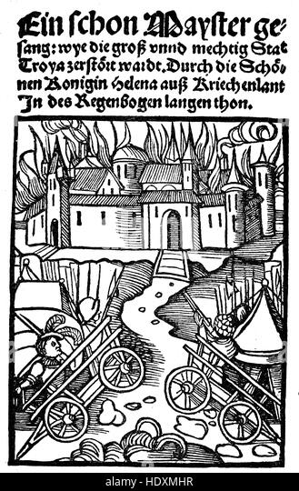 Title of a Meistergesanges by an unknown master shows the destruction of the city of Troya, woodcut from the year - Stock Image