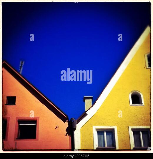 Colorful facades in the city center if Füssen in Allgäu, Bavaria, Germany, Europe - Stock Image