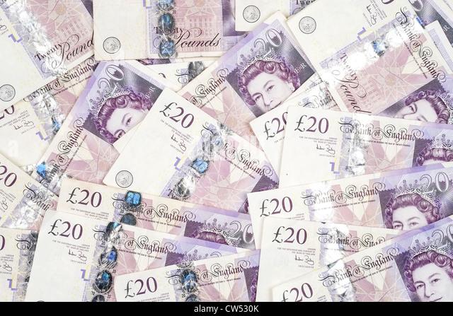 A background image of UK twenty pound notes - Stock-Bilder