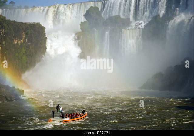 Tourist boat in Iguacu Waterfalls, Brazil Argentina border - Stock Image