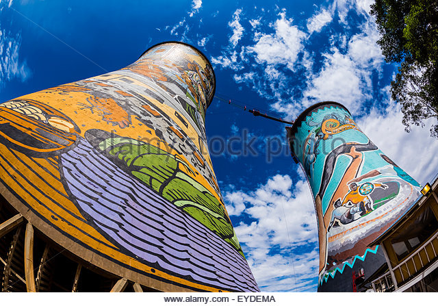 Painted cooling towers (largest mural in South Africa) of decommissioned Orlando Power Station, now a 300 meter - Stock Image
