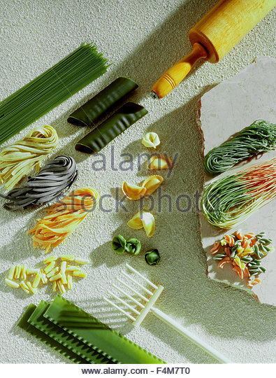 Still of assorted dry fresh pasta - Stock Image