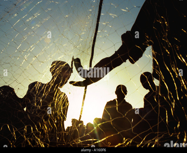 Local Mauritanian and Senegalese fishermen bring in the days harvest near the capital of Nouakchott in Mauritania. - Stock Image
