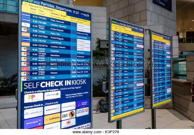 Lisbon Portugal Humberto Delgado Airport LIS Portela Airport terminal flight information display system FIDS electronic - Stock Image