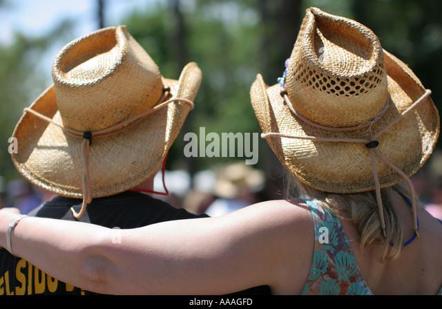 Florida, Zydeco Festival, Cajun, couple, straw hats, - Stock Image
