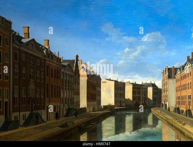 The Golden Bend in the Herengracht, Amsterdam, Seen from the East, by Gerrit Berckheyde, 1671-2, oil on panel, Rijksmuseum, - Stock Image