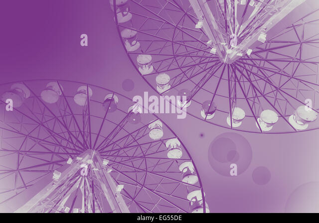 Pink abstract background made of ferris wheels. - Stock-Bilder