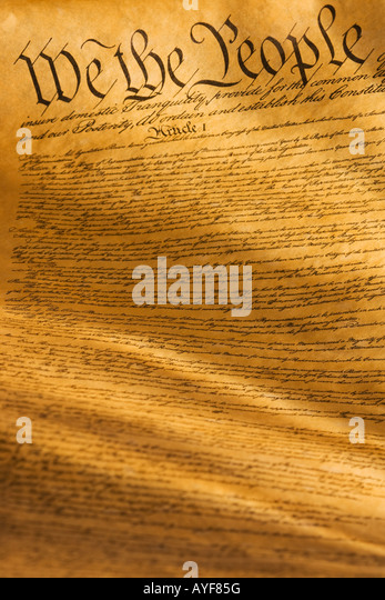 Close up of the United States Constitution - Stock Image
