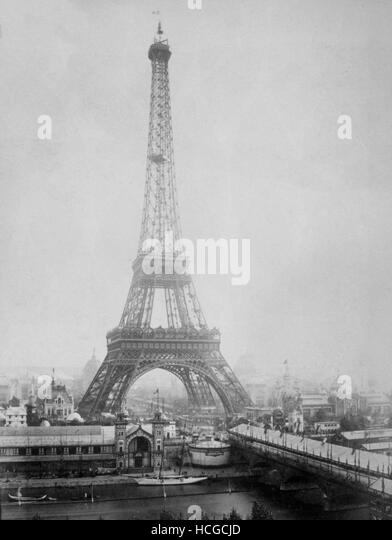 View of the Eiffel Tower with the pavilions of the Universal Exhibition 1889 - Stock Image