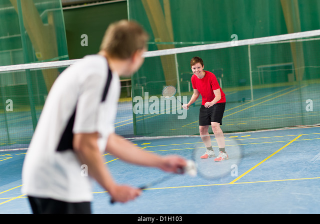 Opposite player is ready to next rally, focus on opposite player. - Stock Image