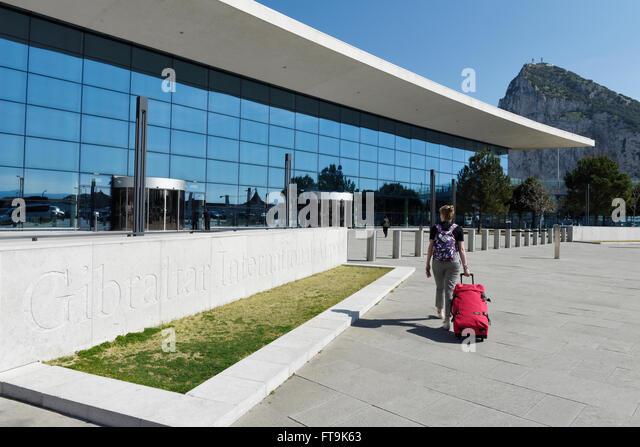 Gibraltar International Airport. The Rock of Gibraltar - Stock Image