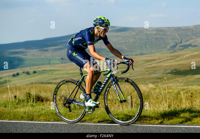 Rubén Fernandez Andujar (Spain) Movistar Team on the climb of Hartside on Stage 5 of the 2015 Tour of Britain. - Stock Image