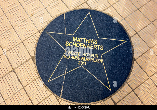 Star of Flemish actor Matthias Schoenaerts on the Walk of Fame along the promenade at the Royal Galleries, Ostend, - Stock Image